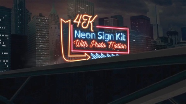 文字霓虹灯招牌Logo动画 Neon Sign Kit With Photo Motion
