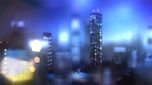 唯美精致的三维合成城市夜晚 Highrise City Lights - Logo Intro