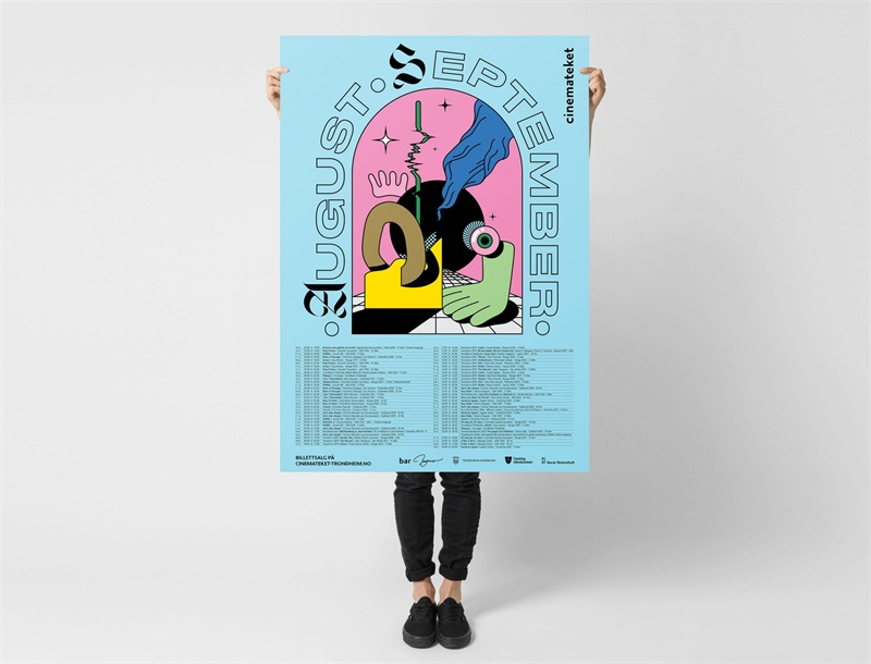 Hugmun's acid trip poster series for a Norwegian arthouse cinema's programme of events